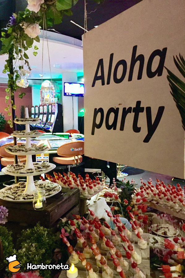 organizacion catering hambroneta fiesta alhoa party casino bilbao snacks aloha party